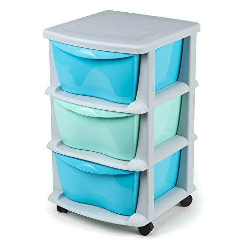 Cajoneras contenedores de plástico con Ruedas para Uso rudo Contenedores para almacenaje de Color Negro con 3 cajones azul y verde