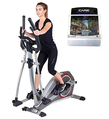 CARE FITNESS - Vélo Elliptique Ergomètre motorisé CE-690-24 Programmes d'Entraînement – Masse d'Inertie 20kg - Résistance Électromagnétique- Vélo Appartement Care Connecté Via Bluetooth