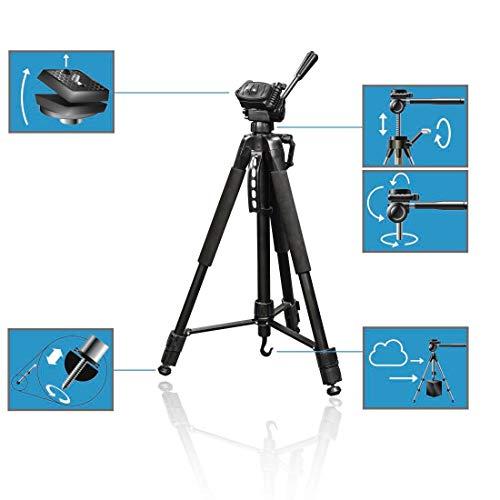 Hama Kamera Stativ Action 165 3D (Tripod mit 61–165cm Höhe, leichtes Fotostativ mit 3-Wege-Kopf, Dreibeinstativ mit Spikes, Kamerastativ) schwarz & Amazon Basics Fernauslöser