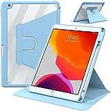 IVSOTEC Funda para Nuevo iPad 10.2″ 9.ª /8.ª/ 7.ª (2021/2020/2019) Gen Carcasa 360 ° Rotación, Auto Activación/Reposo, con Apple Pencil Ranura,Transparente Trasera Funda para iPad 10.2 ,(Azul)