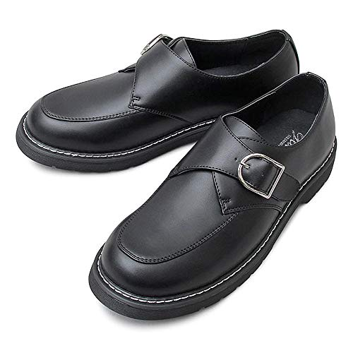 glabella グラベラ スリッポン メンズ カジュアルシューズ ドレスシューズ モンクストラップ 革靴 黒 ブラック スムース エナメル アドヴァン ビジネス フォーマル ビジネスシューズ PUレザー glbt-174-M-BK-A サイズ:M(26.0cm-26.5cm) ブラック-A