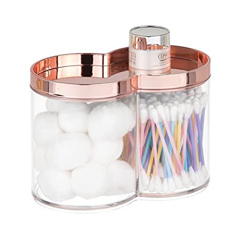 mDesign 2er-Set Aufbewahrungsboxen aus Kunststoff – geeignet als Wattepad Spender & Wattestäbchen Behälter – stapelbar & mit praktischem Deckel – rotgold & durchsichtig