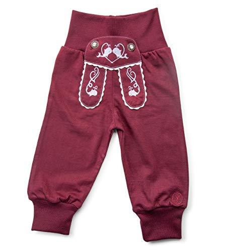 Schöneberger Trachten Couture Baby Stoffhose im Lederhosen Design – Babyhose mit elastischem Bund – Pumphose Kinderhose Bockkitz (110/116, Weinrot)