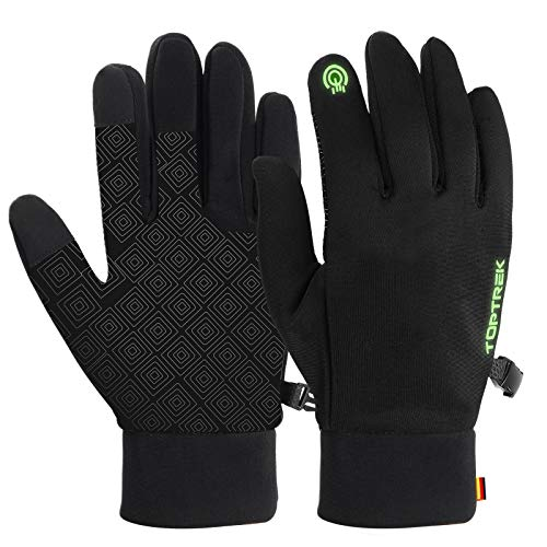 toptrek Touchscreen Handschuhe, Warme Winterhandschuhe wasserdichte Winddichte, Fahrradhandschuhe Fluoreszenz, rutschfeste Sporthandschuhe Laufhandschuhe für Herren & Damen(XL, schwarz)