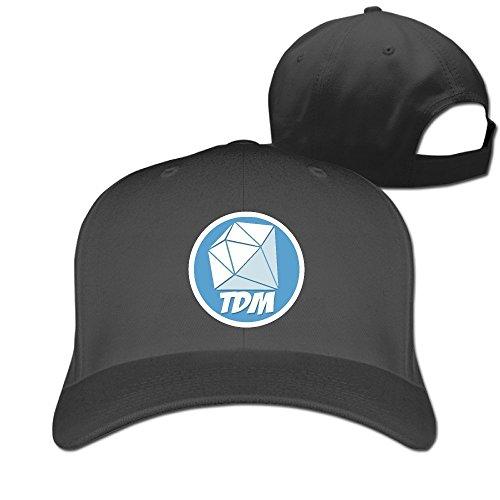 Huseki You Tube Dan TDM Logo Diamond Adjustable Solid Baseball Cap Black