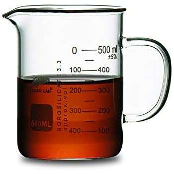 JOANLAB Glass Beaker with Handle, Measuring Cup, Beaker Mug with Pouring Spout,Graduated (500ml)