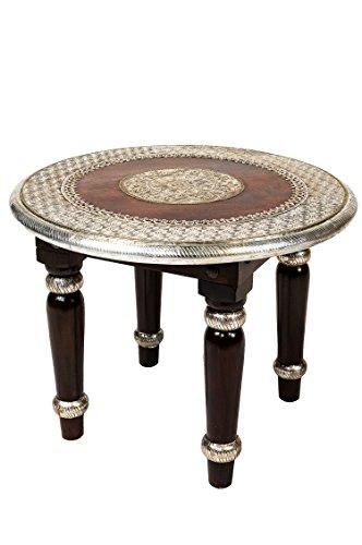 Marokkanischer Wohnzimmertisch Couchtisch Holz massiv Sharada 60cm   Vintage Tisch aus Massivholz mit Messing verziert für Ihre Wohnzimmer   Orientalischer Sofatisch Dunkel Braun