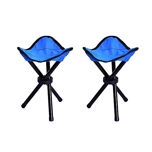 LQ ZTT 2 Set of Camping Stools Folding12 inch Tall Lightweight Portable Tripod Camp Stoolsfor Backpacking Camping Hiking Hunting Fishing Color Blue