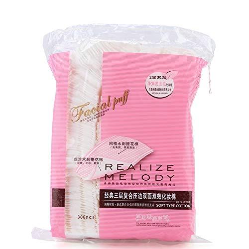 300Pcs Tampons de coton de maquillage, Tampons démaquillants pour les yeux naturels Puff de coton carré de qualité supérieure, Outils de maquillage doux et doux pour économiser l'eau, Outils de maquil