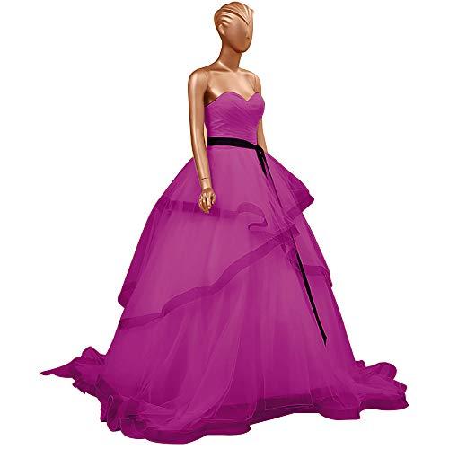 HUINI Abendkleider Lang Elegant Hochzeitskleider Organza Ballkleider Rückenfrei Brautkleider Standesamt Brautmode Quinceanera Kleider Fuchsie 54