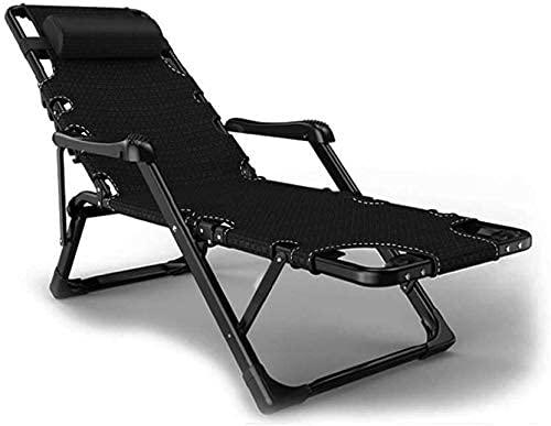 Tumbona Plegable, Sun Garden Outdoor Zero Gravity Silla reclinable Sillas Camas Plegables Ligeras Muebles Playa Camping Terraza Playa Piscina, Negro