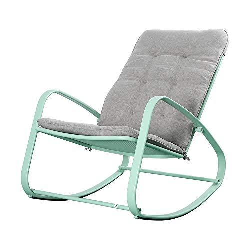 Okeysen Outdoor Patio Rocking Chair, Ergonomic Cushioned Steel Rocker Chair, 300 lbs Support, for Porch, Backyard, Balcony, Poolside. (Green)