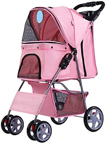 Cochecito de la mascota de cuatro ruedas, carro paseando fácilmente pliegue con forro extraíble, carro de mascotas con cesta de almacenamiento + taza de taza, para parque de perros, para el exterior