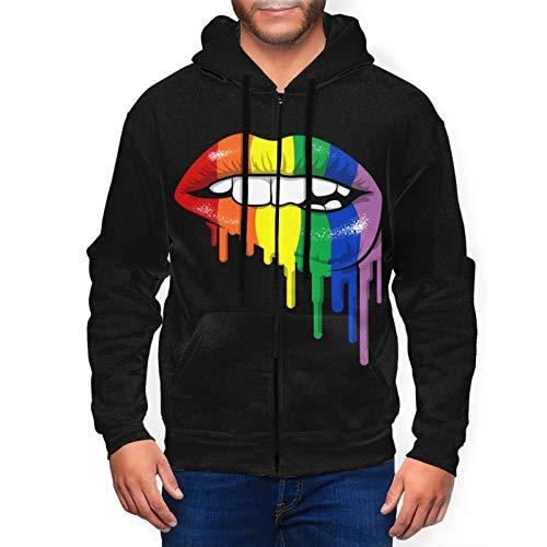 MISSBIE LGBT Gay Homosexual Lesbian Rainbow Lips Pride Men's 3D Print Athletic Fit Full Zip Sweatshirt Active Hoodie Jacket