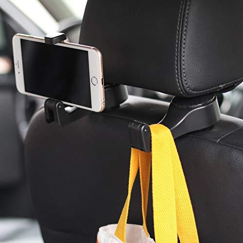 Universal Multifunctional Car Vehicle Back Seat Headrest Mobile Phone Holder Hanger Holder Hook for Bag Purse Cloth Grocery (Black Set of 2)