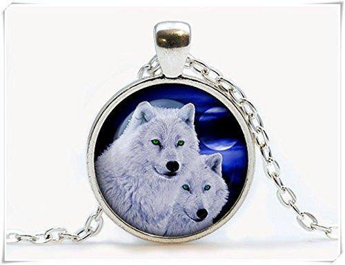 Beautiful Dandelion Hermoso colgante de cristal de lobo de diente de león. Collar de lealtad de...