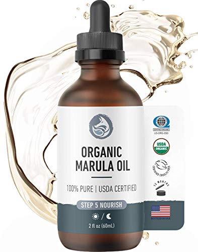 Organic Virgin Marula Oil for Face, Hair & Nails - Best for Anti Aging, Dry, Sun Damaged Skin - Facial & Body Moisturizer - by Foxbrim Naturals 2 oz