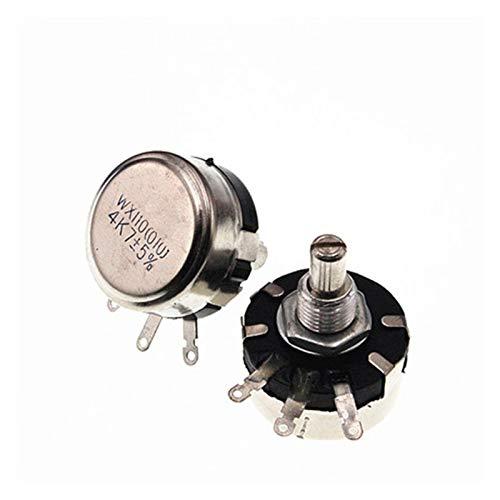 WANGJBH Potenciómetro 5 unids wx110 (010) 6 mm Redondo Metal Eje de Metal Individual Resistencia al Alambre Potenciómetro 1k 2.2k 3.3k 4.7k 5.6k 6.8k 10k 22k Ohm (Resistance : 6.8K Ohm)