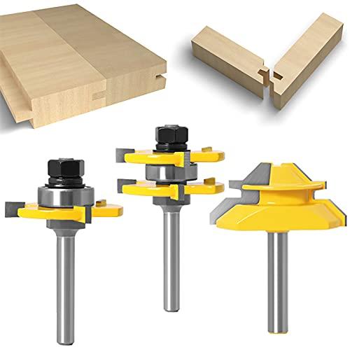 WSOOX Set di frese superiori con codolo da 8 mm, 3 pezzi di coppa e fresa a scanalatura + 45 gradi Lock Mitre Router Bit per fresatrice elettrica superiore, attrezzi per la lavorazione del legno