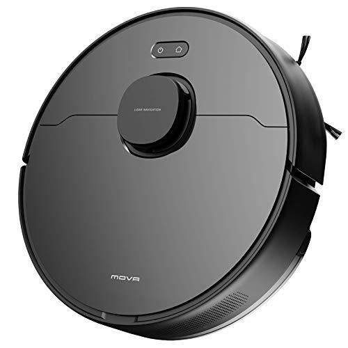 Aspiradora robot Mova, 2 en 1, Succión 4000 Pa, Alexa, Wi-Fi, Lavadora de suelo, Batería de 5200mAh, Aspiradora láser de escoba eléctrica y Lava para cabello animal, Suelos,(L600)