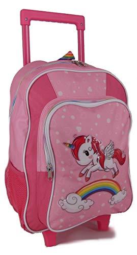 STEFANO Kinder Reisegepäck Einhorn Unicorn Set Pink mit Regenbogen für Mädchen (Trolley)