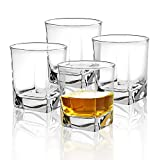 Almagic Small Size Whiskey Glass Set of 4 Crystal Square Glass 6.2OZ Scotch or Bourbon Wooden Box Gift for Father Husband (With 16 Granite Chilling Stones and Velvet Bag)