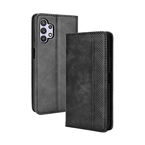 LEYAN Leder Folio Hülle für Samsung Galaxy A32 4G, Lederhülle Brieftasche Mit Kartensteckplätzen, Premium Flip PU/TPU Handyhülle Schutzhülle Hülle Cover mit Ständer Funktion (Schwarz)