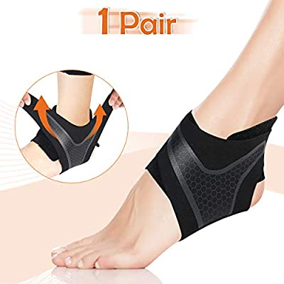 CHARMINER Ankle Support Brace, 2 Pack Ankle Compression Brace Stabilizer Ankle Sprained Recovery Adjustable for Plantar Fasciitis Swelling Pain Men and Women Running Basketball(Medium)