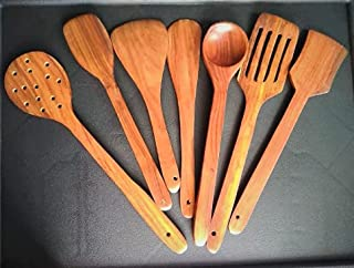 DECORVAIZ Wooden Premium Quality Handmade Kitchen Cooking Spatula, Non Stick Serving Spoons - Set of 7