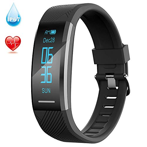 AGPTEK Upgraded Fitness Tracker,Sports Activity Tracker Watch with Heart Rate Monitor,OLED Touch Screen, IP67 Waterproof,Sleep Monitor, Pedometer for iPhone Android Phones, Black