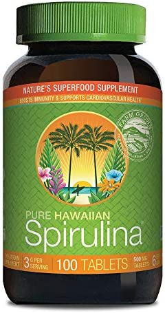 Pure Hawaiian Spirulina-500 mg Tablets 400 Count - Natural Premium Spirulina from Hawaii - Vega Non-GMOImmunity Support - Superfood Supplement & Natural Multivitamin