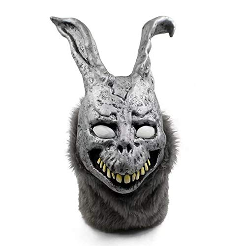 Halloween Horror Evil Silver Rabbit Mask, Scary Latex Mask, for Halloween Party Costume Party, Haunted House Horror Mask