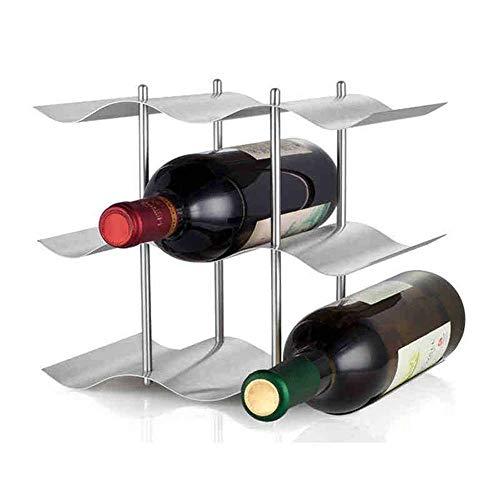 CAIJINJIN estante del vino Estante del vino 9 botella del metal de soporte for suelo estante del vino vino elegante armario de bastidor principal de la cocina Decoración rack portátil vino (Color: Pla