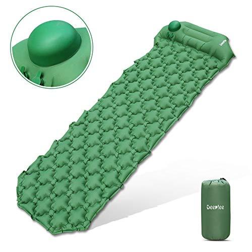 Deeplee Isomatte Camping, Ultraleichte Luftmatratze Schlafmatte Eingebaute Presspumpe, Aufblasbare Isomatte kompakte für Outdoor,wasserdichte für Wandern,Backpacking,Camping,Strand(Grün)