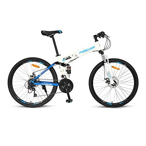 Bicicleta, Bicicleta de Montaña de 26 Pulgadas, Bicicleta Plegable de 24 Velocidades, Para Adultos, Marco de Acero con Alto Contenido de Carbono, Freno de Disco Doble, Doble AbsorcióN de Impactos