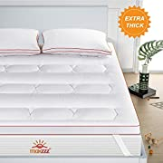 Maxzzz Mattress Pad, Full Mattress Topper Pads Down Alternative Fiber Mattress Cover with 4 Elastic Bands Stretches up to 16 Inches Deep Machine Washable (Full, 2inch)