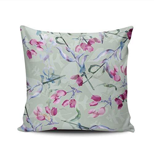 GOSMAO Funda de Almohada Four Seasons Fashion Abstracto Colorido Floral Algodón Lino Throw Pillow Case Funda de Almohada para Cojín 45x45 cm