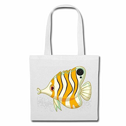 Tasche Umhängetasche BUNTER DER ZIERFISCH MIT Langer Nase FISCHARTEN ZIERFISCHE Fische Aquarium Einkaufstasche Schulbeutel Turnbeutel in Weiß