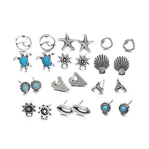 Topdo Juego de Pendientes con Moda Pendientes Stud Earrings para Amantes de Las Joyas Tortuga Estrella de mar Concha 12 Pares Aleación Color Color Plata
