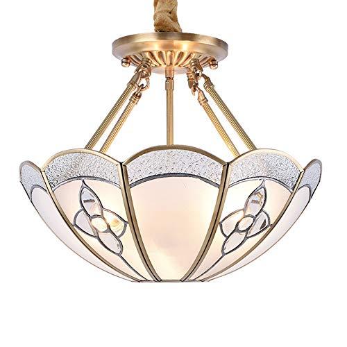 ChangHua1 Lámpara De Cristal De Oro Estadounidense De Cobre Lámpara De Sala De Estar De Restaurante Europeo Simple Lámpara De Cobre De Lámpara De Araña Americana Led 400 * 350 (mm)