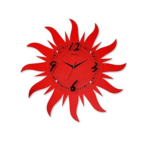 ShanDD Reloj de Pared, Reloj de Pared Decorativo Reloj Creativo de Sun Rojo, Decoración de Sala de Estar/Dormitorio Habitación de niños Reloj de Silencio Personalidad Reloj Rojo