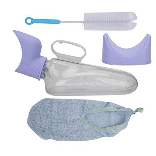 Botella de orina femenina, inodoro portátil para incontinencia con orinal con adaptador para mujer, urinario de emergencia reutilizable para mujeres en cama/personas con movimiento limitado