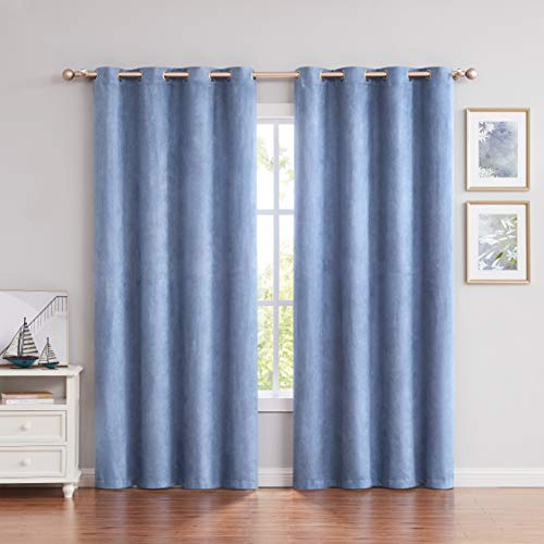 Long Suede Window Curtain Panels with Grommets Room Darkening Window Curtain Drapes Treatment Set for Bedroom/Living Room (2 Panels, Blue, 55'×95')
