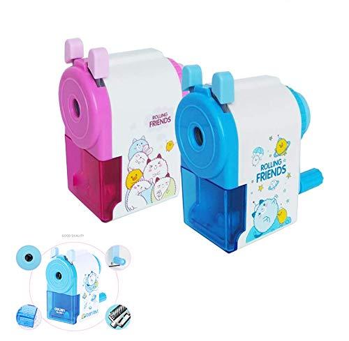 Student pennvässare manuell pennvässare med behållare för barn student konstnär proffs 2-pack (rosa och blå)
