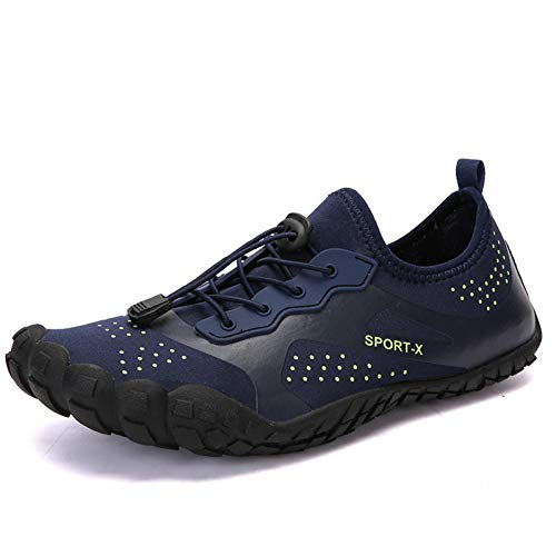 XJWDNX Antideslizante Hombres Zapatos de Senderismo Mujer Escalada Montaña Resistente al desgaste Anfibio Zapatos de Deporte al aire libre Zapatillas de Deporte de secado Rápido Zapatos, azul, 44
