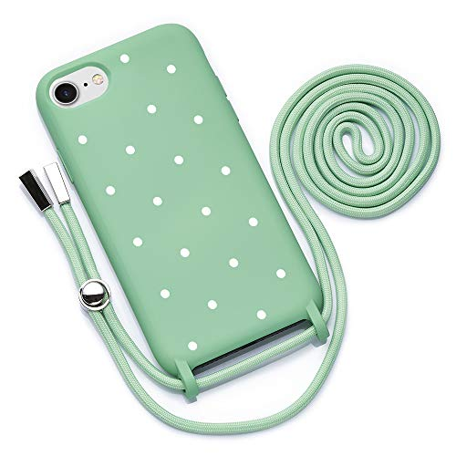 QULT Funda con Cuerda Compatible con iPhone 6 /6s Plus, iPhone 7/8 Plus Carcasa de movil con Colgante Cadena Suave Silicona Necklace Bumper Verde Motivo Puntos Blancos