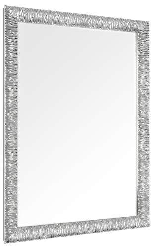 GaviaStore – Julie 90x70 cm - Specchio moderno da parete di altissima qualità - grande xxl arred casa art home decor soggiorno modern sala paret camera bagno ingresso (Argento)