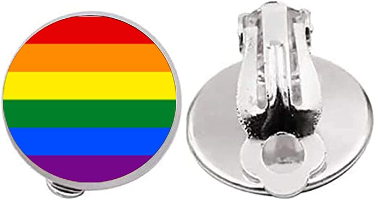 Gay pride Clip on Earrings same sex lgbt jewelry gay lesbian pride with rainbow love wins gift Rainbow jewelry Pride jewelry Gift idea Pride Earrings