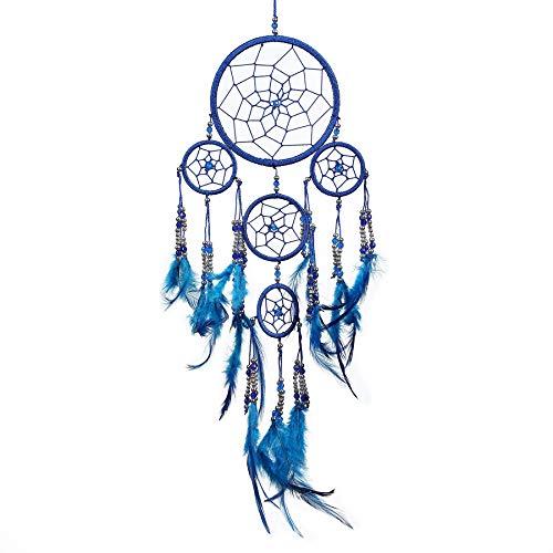 Pink Pineapple Dreamcatcher mit Federn und Silber Perlen: Handgemachter Traumfänger Vielen Farben Erhältlich - Königsblau - Kleine Traumfänger Mit 12 cm Durchmesser und 35 cm Lang