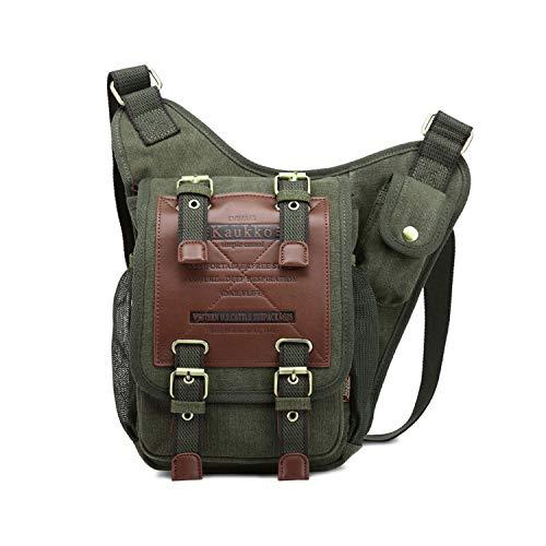FANDARE Vintage Sling Bag Bolsas de Deporte Messenger Bag Las Mujeres Mochila Shoulder Bolso Hombre Senderismo Bolso Bandolera Estudiantes Universitarios Small Lona Verde